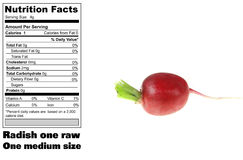 Nutritional facts of Radish Stock Image