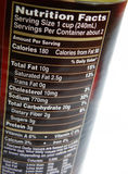 Nutritional label on can. An image showing the nutrition facts on the paper label of a tin of canned stew, stating the nutrients in the food per serving Royalty Free Stock Photos