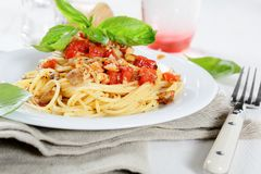 Nutritional spaghetti with tomato sauce on a plate Stock Image