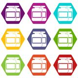 Nutritional supplement for athletes icon set color hexahedron Stock Photos