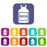 Nutritional supplement for athletes icons set. Vector illustration in flat style in colors red, blue, green, and other Stock Photography