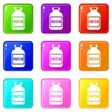 Nutritional supplement for athletes set 9. Nutritional supplement for athletes icons of 9 color set isolated vector illustration Royalty Free Stock Photography