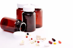 Nutritional Supplements. A lot of supplements on white background Stock Images