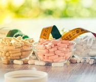 Nutritional supplements. In capsules and tablets royalty free stock photos