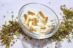 Nutritional supplements pills in a bowl on dried herbs background. Alternative herbal medicine, naturopathy and homeopathy royalty free stock photos