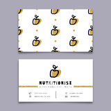 Nutritionist business card, dietitian, Trendy symbol apple, Modern minimal design Royalty Free Stock Photos