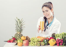 Nutritionist doctor woman. Isolated on white Stock Photo