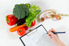 Nutritionist doctor workplace concept, top view Stock Photos