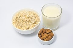 Oats milk and nut breakfast. Nutritionist Gargi Sharma says, `Oats are rich in soluble fibers which help in lowering cholesterol levels. These soluble fibers Stock Photos