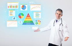 Nutritionist with nutrient intake concept. Middle aged nutritionist with nutrient intake conceptn stock image