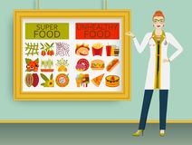 Nutritionist showing healthy and unhealthy food on a picture. Vector illustration Royalty Free Stock Photography