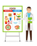 Nutritionist showing poster about food Stock Images
