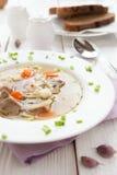 Nutritious суп мяса с макаронными изделиями и морковами стоковые фотографии rf