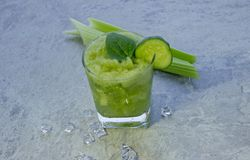 Nutritious celery cocktail for weight loss and maintaining a healthy lifestyle. royalty free stock photo