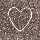 Nutritious chia seeds  on heart shape Stock Photos