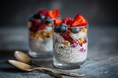 Nutritious chia seeds pudding in a glass jar with fresh season berries. Raw and vegan food stock photos