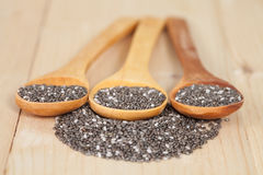 Nutritious chia seeds on a  spoon Royalty Free Stock Photo