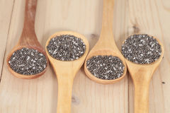 Nutritious chia seeds on a  spoon Royalty Free Stock Images