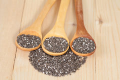 Nutritious chia seeds on a  spoon Royalty Free Stock Photos