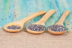 Nutritious chia seeds on a  spoon Stock Photo