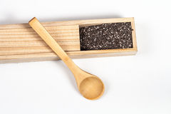 Nutritious chia seeds in wood box and  spoon Royalty Free Stock Photography
