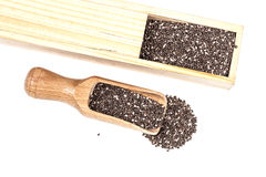 Nutritious chia seeds in wood box and  spoon Royalty Free Stock Photo