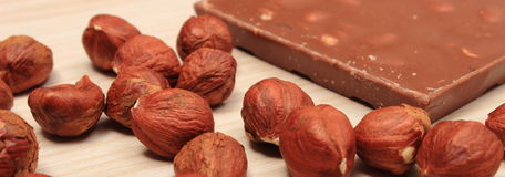 Nutritious chocolate and hazelnuts  sweet dessert Royalty Free Stock Photography