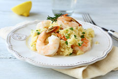 Nutritious couscous with shrimp Royalty Free Stock Images