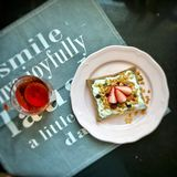Nutritious and delicious breakfast, with toast strawberry wine and toast Royalty Free Stock Images