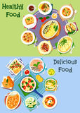 Nutritious dinner icon set for food theme design Stock Images