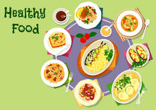 Nutritious dinner with meat and fish dishes icon. Nutritious dinner with meat and fish icon of vegetable salad with fish, pasta topped with liver onion stew Royalty Free Stock Image