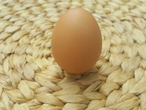 Nutritious Egg on  basket weave pattern Stock Photo