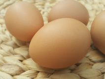 Nutritious Egg on  basket weave pattern Stock Photos