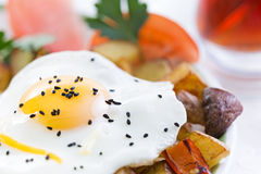 Nutritious fried egg and vegetables Royalty Free Stock Photos