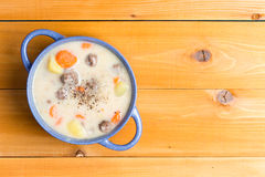 Nutritious meatball soup with vegetables Stock Images