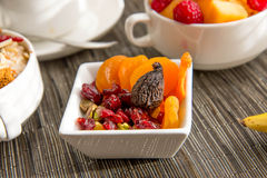 Nutritious oatmeal and dried fruit breakfast setting Stock Images