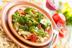 Nutritious Pasta with roasted vegetables. Delicious italian food Royalty Free Stock Images