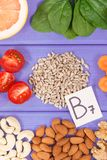 Nutritious products containing vitamin B7 and dietary fiber, healthy nutrition. Nutritious products containing vitamin B7 and dietary fiber, natural sources of royalty free stock image
