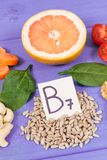Nutritious products containing vitamin B7 and dietary fiber, healthy nutrition. Nutritious products containing vitamin B7 and dietary fiber, natural sources of stock photos