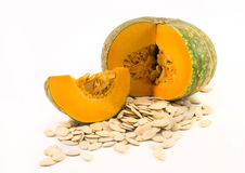 Nutritious pumpkin and seeds Stock Images