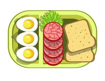 Nutritious tasty lunch in convenient green plastic container. Boiled eggs, sliced sausage, lettuce leaf and fresh wheat bread on special tray isolated cartoon Stock Photos
