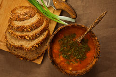 Nutritious vegetable soup, wholegrain bread, green onion in wood Royalty Free Stock Image