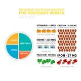 Nutrizione di gravidanza infographic Fotografia Stock