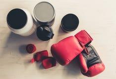 Nutrizione ed attrezzatura di sport Immagini Stock