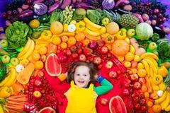 Nutrizione sana della verdura e della frutta per i bambini Immagine Stock Libera da Diritti