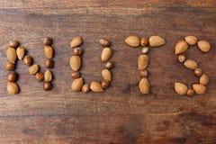 NUTS λέξης στοκ φωτογραφία