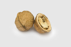 Nuts. Nut whole and opened are isolated on a white background Stock Photography