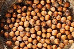Nuts. Frammed inside a basket stock images
