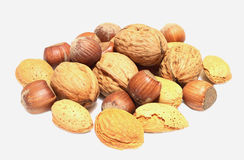 Nuts. Mixed nuts on white background stock images