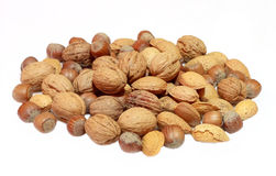 Nuts. Mixed nuts on white background royalty free stock photos